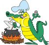 Cajun Alligator Cooking Over an Open Fire clipart