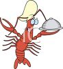 Lobster Chef Holding a Tray clipart