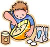 Cartoon of a Little Boy Baking Stirring a Bowl of Batter clipart