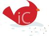 Little Red Cardinal Bird Eating Seeds in the Snow clipart