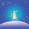 Glowing Christmas Tree Alone on a Snowy Hill at Night clipart