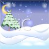 Snow Covered Hills Landscape with a Quarter Moon clipart