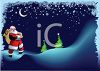 Santa Delivering Gifts at Night in the Snow clipart