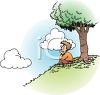 Boy Sitting on a Hill Gazing Up at the Sky clipart