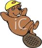 Cartoon Beaver Taking a Break clipart