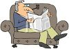 Elderly Man Smoking a Pipe while Reading the Paper in an Easy Chair clipart