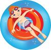 Little Red Haired Boy Floating in an Inner Tube on Summer Break clipart