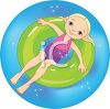 Little Blond Girl Floating in an Inner Tube on Summer Break clipart