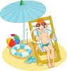 Red Haired Boy Sitting at the Beach  clipart