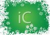 Snowflakes on a Green Holiday Background clipart