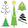 Collage of Different Kinds of Christmas Trees clipart