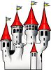 Fairytale Castle with Red Turrets and Flags Flying clipart