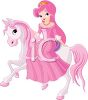 Princess Riding on Her Pony clipart