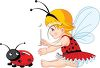 Little Girl Wearing a Costume Playing with a Ladybug clipart