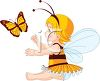 Adorable Little Girl Wearing a Bee Costume clipart