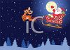 Santa Flying Across the Sky on Christmas Eve clipart