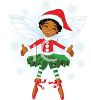 Ethnic Elf Faerie with Snowflakes clipart