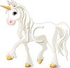 Beautiful White Unicorn with a Gold Horn clipart