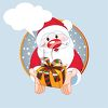 Cartoon Santa Holding a Gift with a Talk Bubble  clipart