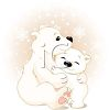 Polar Bear Mother Hugging Her Baby clipart