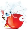 Frisky White Kitten Playing with a Christmas Ornament clipart