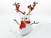 Snowman with Antlers Decorated with Christmas Ornaments clipart