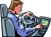 Man Using a GPS Unit In His Car clipart
