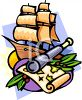 Clipper Ship, Spyglass and a Pirate Map clipart