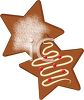 Gingerbread Christmas Cookies in the Shape of Stars clipart