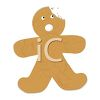 A Gingerbread Boy with a Bite Taken From His Head clipart