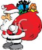 Fat Little Santa Holding a Bag of Christmas Toys and Gifts clipart