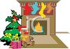 Christmas Tree by a Fireplace with Stockings Hung  clipart
