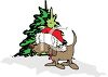 Christmas Puppy Wearing a Santa Hat clipart