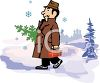 Dad Carrying Home a Christmas Tree in the Snow clipart
