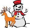 Snowman With a Reindeer clipart