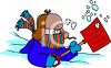 Guy Shovelling Snow in Freezing Weather clipart