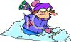 Angry Woman Shovelling Snow clipart