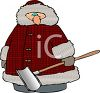 Fat Guy Wearing a Plaid Coat Holding a Snow Shovel clipart