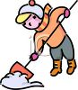 Cartoon of a Boy Shovelling Snow clipart