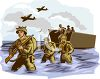 Soldiers Getting Off of a Boat During War clipart