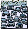 Lots of Cars Driving on a Freeway Making Pollution in the Air clipart