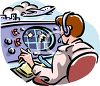 Air Traffic Controller Working in an Airport clipart