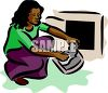 African American Woman Cleaning Lint from a Dryer clipart