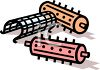 Old Fashioned Plastic Hair Curlers clipart