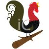 Stylized Rooster Crowing on a Log clipart