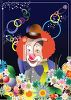 Clown with Flowers and Red Hair clipart
