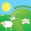 Cute Cartoon Sheep Standing on Grassy Hills clipart