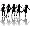 Silhouetted Adolescent Girls clipart