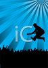 Silhouette of a Rock Guitarist Leaping Into the Crowd clipart