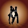 Silhouette of Two People Dancing clipart